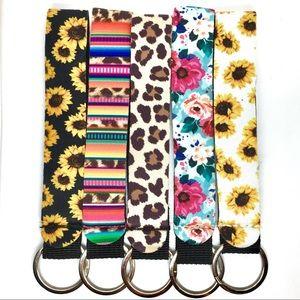 Serape Leopard Keychain Key Fob Wristlet Neoprene